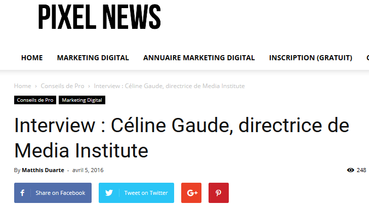 Pixelnews article Céline